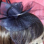 Navy Blue teardrop cap with Navy Blue veil, coiled flowers & feathers. Wedding Hat, Navy Blue Fascinator, Church Hat, Navy Blue Hatinator