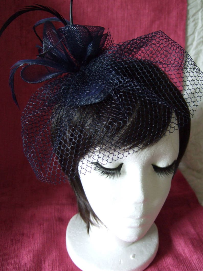 Navy Blue teardrop cap with Navy Blue veil coiled flowers & image 0