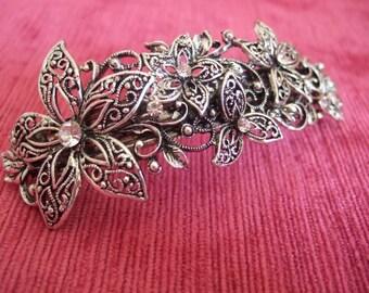 Vintage crystal silver filigree flower barrette, Bridal barrette, French clip, Wedding barrette, Bridal Hair clip. Vintage Hair accessory