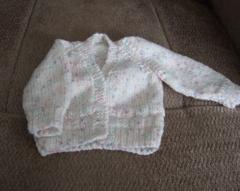 Hand knitted Preemie to Newborn white fleck baby girls cardigan sweater. Baby shower gift, Reborn Doll, Hospital cardigan.