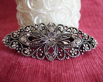 Vintage silver filigree crystal oval barrette, Bridal barrette, French clip, Wedding barrette, Bridal Hair clip. Vintage Hair accessory