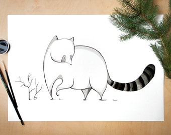 Ink raccoon art print