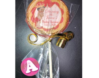 Personalized Royalty Theme Baby Shower Chocolate Lollipop
