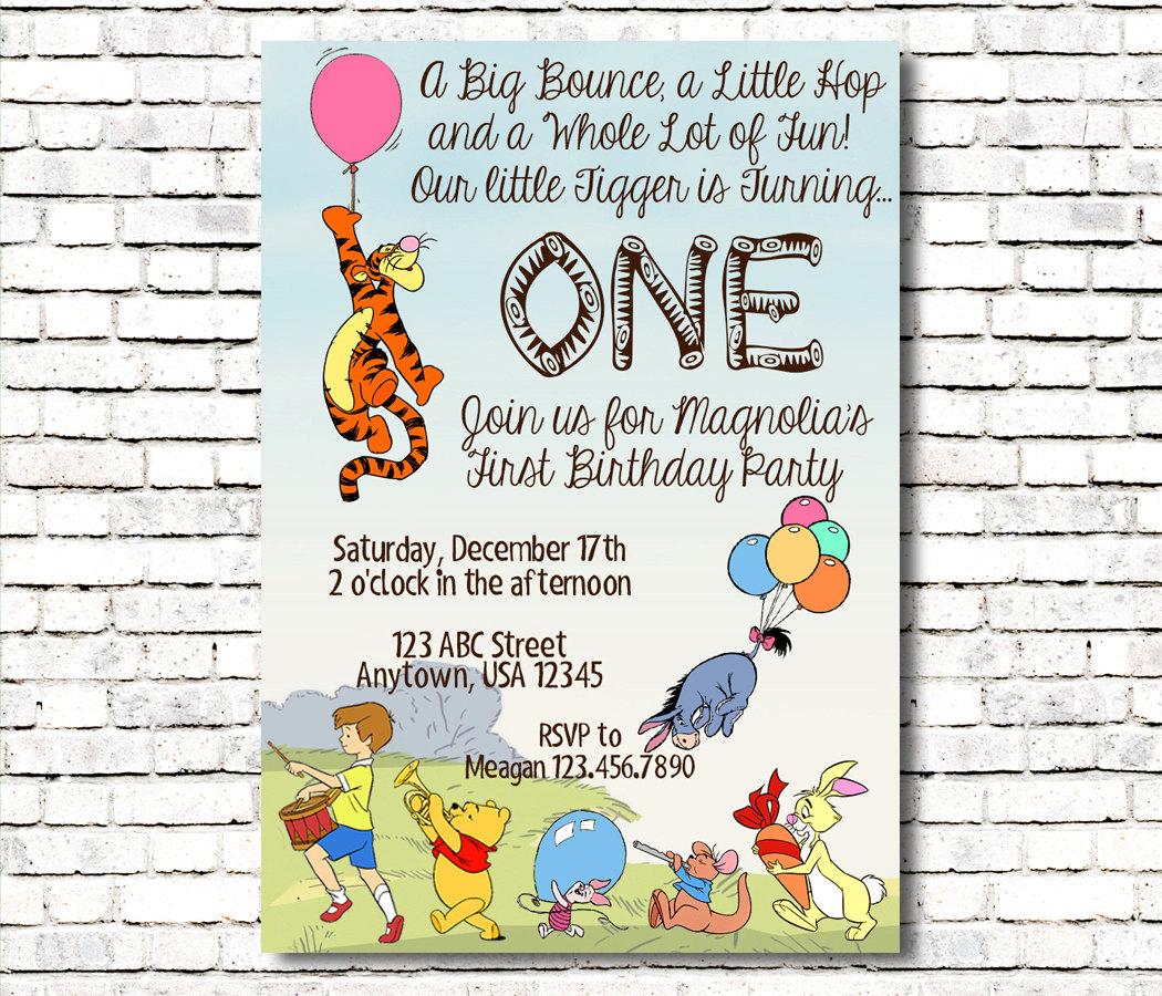 Tigger Themed Birthday Invitation Winnie the Pooh | Etsy