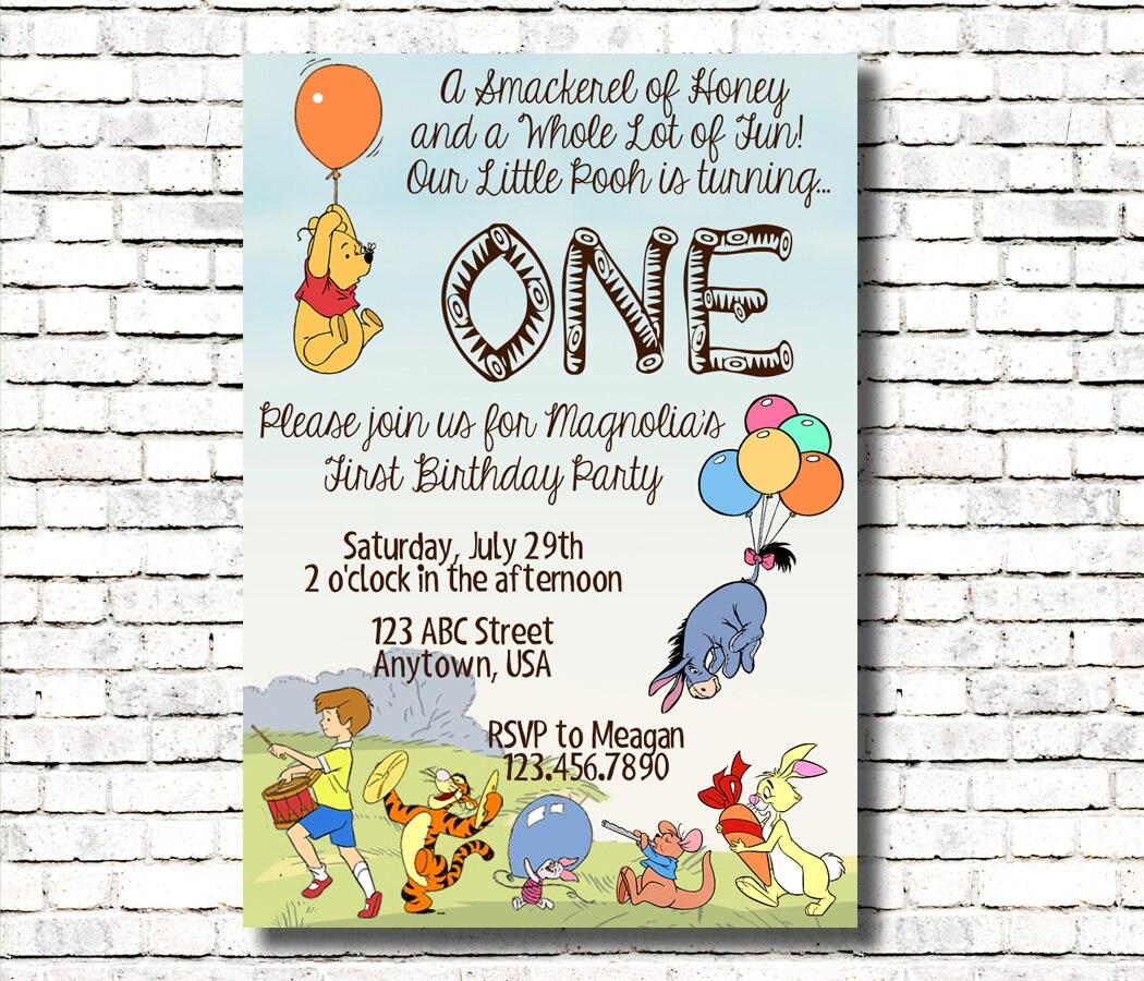 Winnie the Pooh Birthday Invitation Age One | Etsy