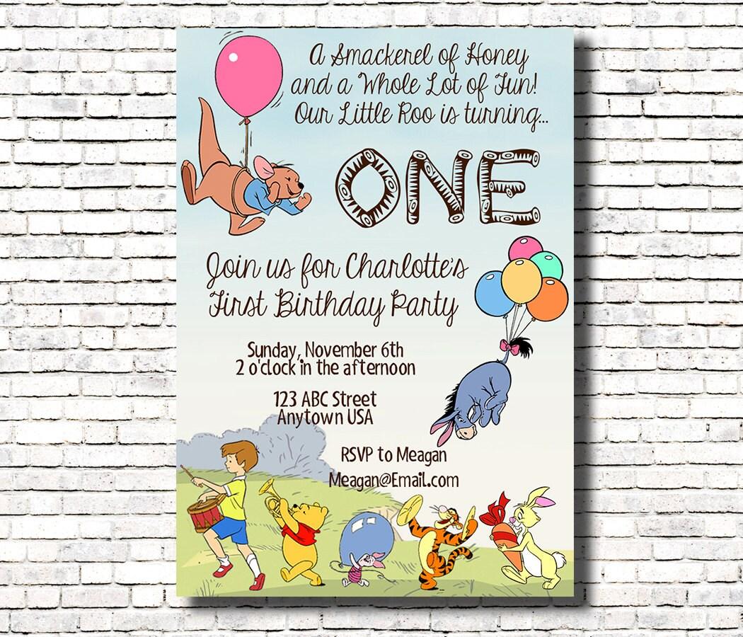 Roo Birthday Invitation Winnie the Pooh Theme | Etsy