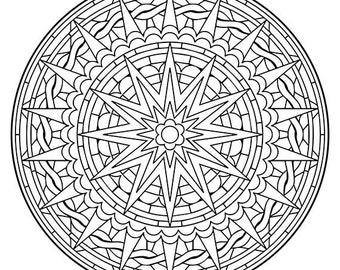 Mandala Coloring Pages The Houtman Mandala Coloring Page | Etsy