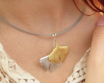 Double Leaf Ginkgo Pendant, Ginkgo Leaf necklace, Silver Bronze leaf, ginkgo necklace, silver bronze ginkgo, wedding gift, bridesmaid gift