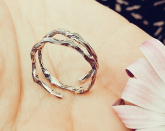 Sterling Silver Twig Ring Branch, Ring Double Branch, Elvish Ring, Wedding gift, Bridesmaid gift, Mother's Day Gift, nature style, Lost Soul