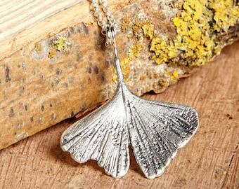 Ginkgo Necklace, Ginkgo Leaf pendant, silver ginkgo, silver leaf necklace, silver pendant, ginkgo pendant, wedding gift, bridesmaid gift