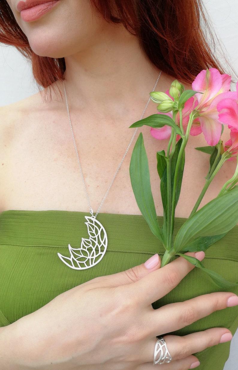 Bohemian Jewel Botanical Pendant Bohemian Bride Sterling Silver Wedding Gift Botanical Jewel Openwork Necklace Bridesmaid Gift