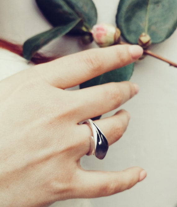 Handmade Silver silver leaf ring unique calla lily bridesmaid gift Calla Lily Ring Sterling Silver Calla Lily Silver Calla Lily Ring