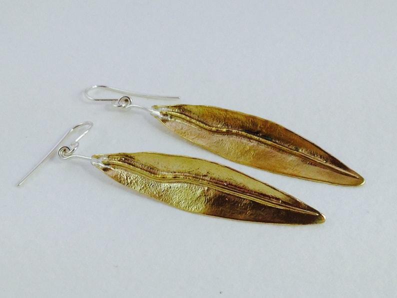Bronze Jewel Bronze Olive Leaf Bronze Leaf Earrings bridesmaid gift wedding gift Botanical Jewel Silver Fish Hook Bohemian Jewel
