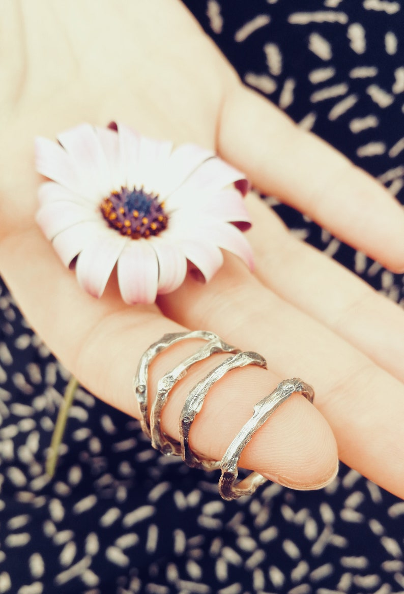 Dainty ring Silver Midi ring Bridesmaid gift Botanical Jewel Anniversary Gift Silver Twig Ring Stackable Silver ring nature design