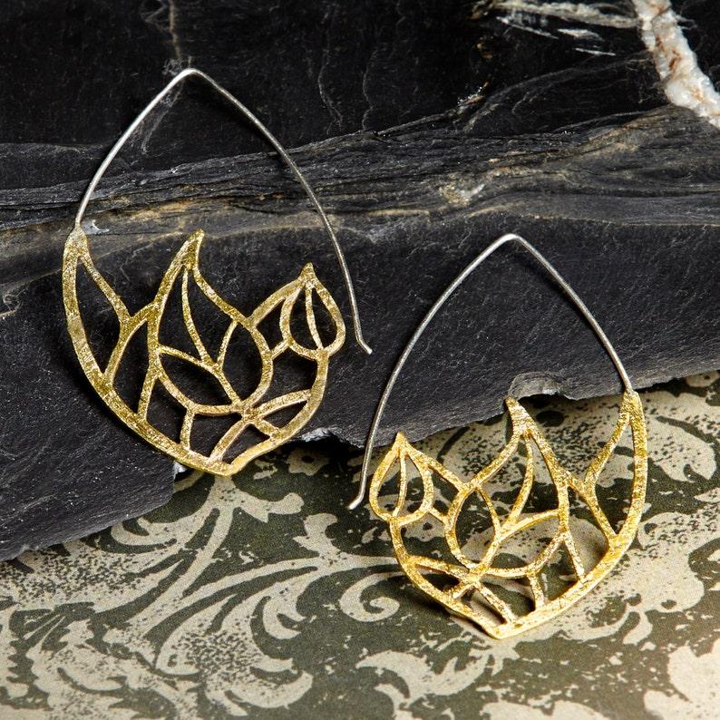 Modern Hook Golden Bronze Leaf Openwork Earrings Golden Bronze Earrings wedding gift Mom Gift Golden Color Openwork Bronze Earrings
