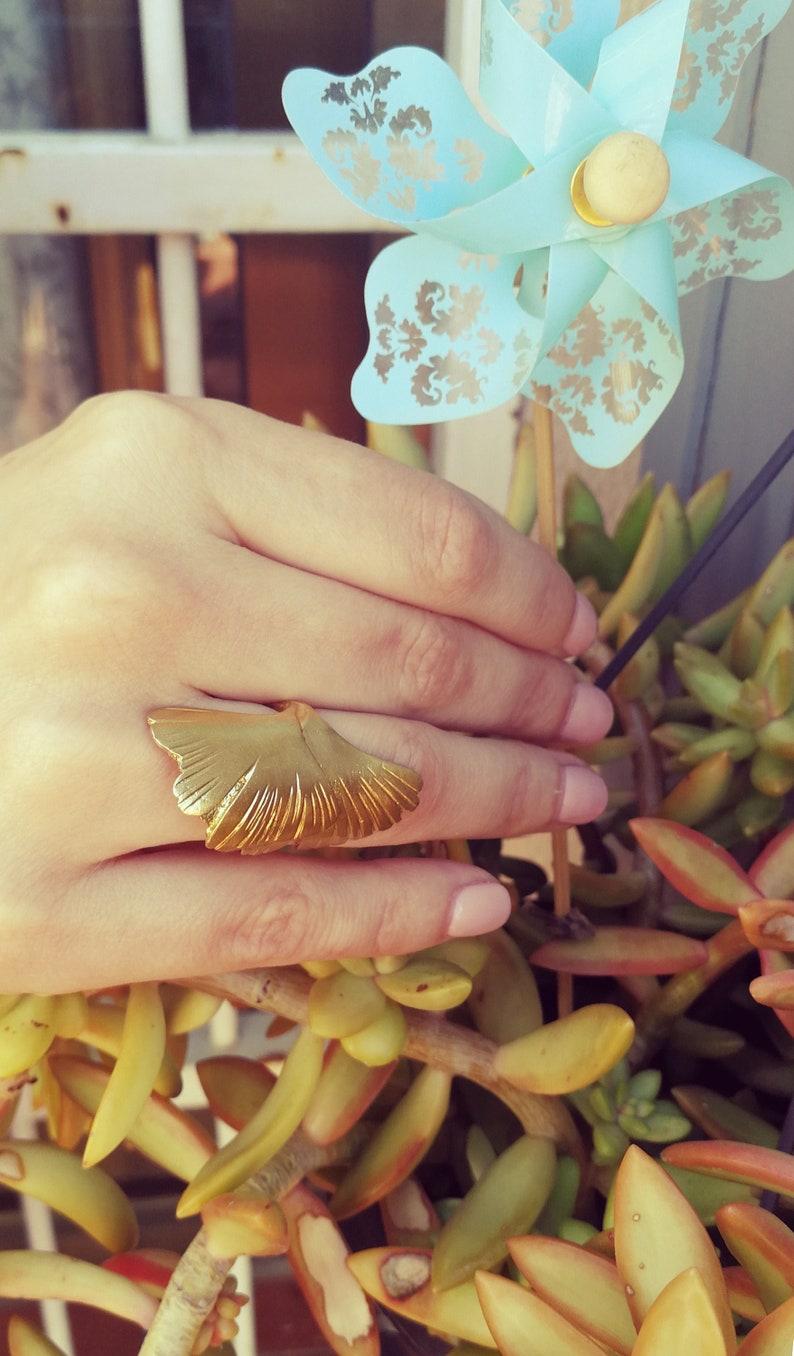 Wrap ring Gingko Leaf Ring Adjustable Ring ginkgo leaves ring bridesmaid gift Gold Leaf Ring wedding gift Bronze Ring Ginkgo Ring