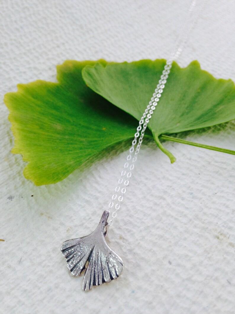 Bohemian Jewel Botanical Jewel Silver Ginkgo Leaf Silver Necklace Bridesmaid Gift Ginkgo Biloba Mini Ginkgo Wedding gift art nouveau