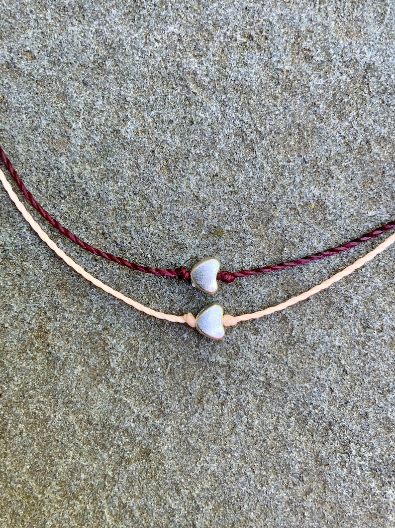 Boho Summer Body Jewelry Ready to Ship Beachy Ocean Anklets Dainty Heart Charm Anklet Polyester Waxed Cord Adjustable Bracelet