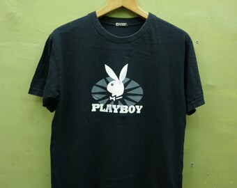 0a23cd71d67 Vintage Playboy Designer Shirt Big Logo Streetwear Urban Fashion Black  Color Top Tee T Shirt Size M