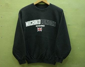 718a2f3821c86 Vintage Michiko London Koshino Sweatshirt Big Spell out Streetwear Swag  Urban Fashion Black Color Sweater Size M