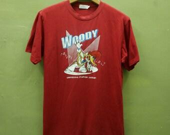 f5e81bdb0 Vintage Universal Studio Woody Woodpecker Singer Shirt Cartoon Streetwear  hip hop funky T Shirt Red Color Size L
