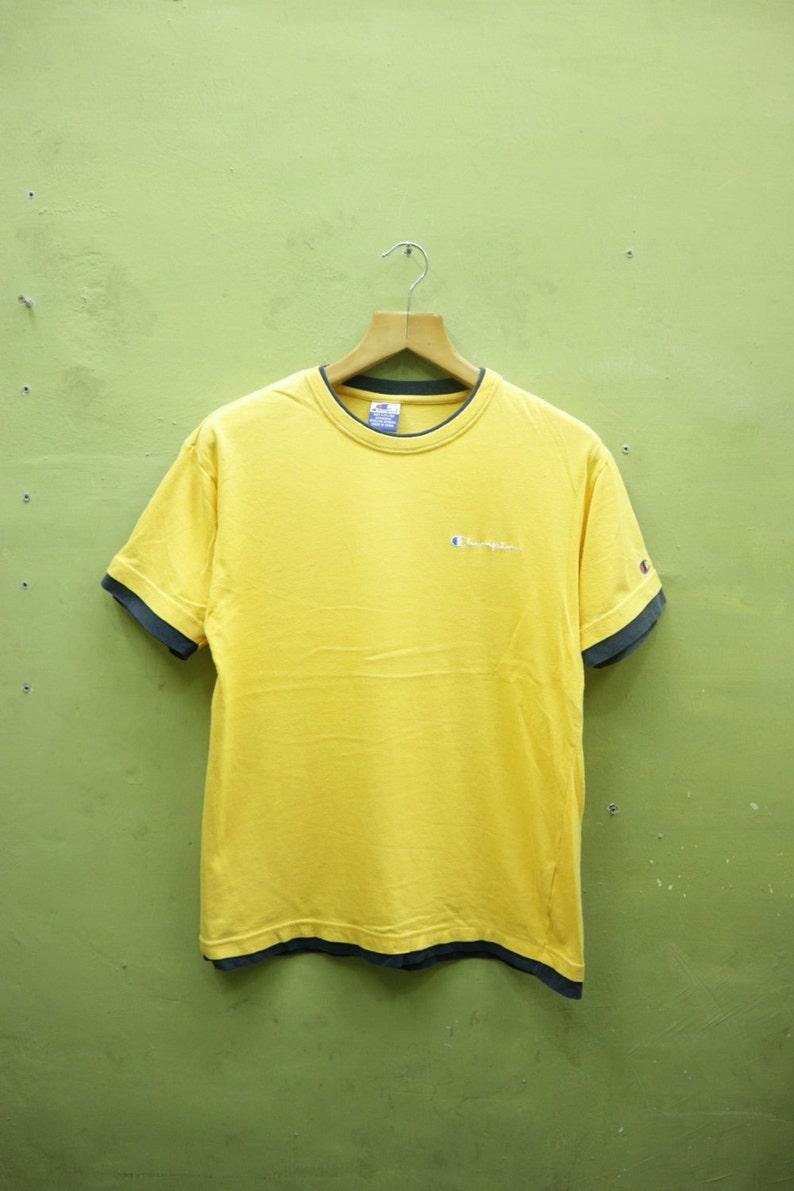 f7db76b92d8dc Vintage Champion Shirt Embroidery Logo Sportswear Streetwear Top Tee T  Shirt Yellow Color Size M