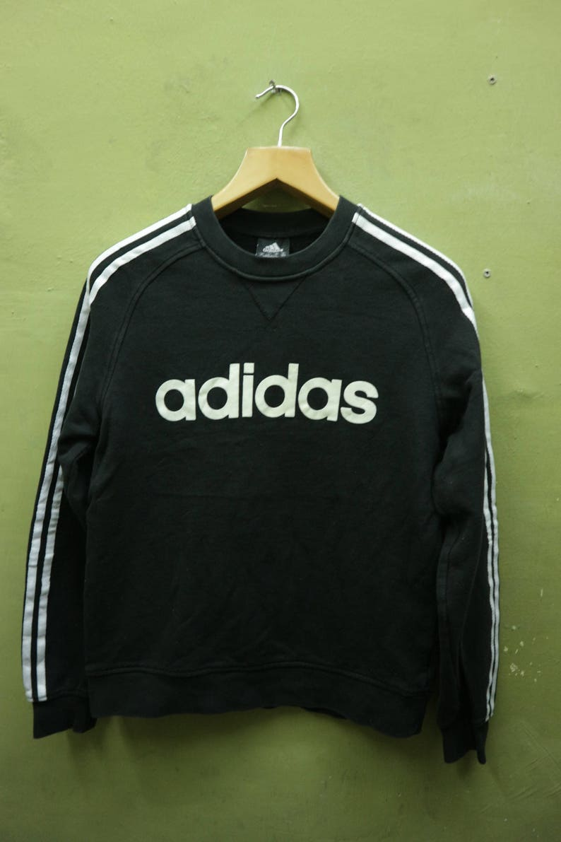 Vintage Adidas Sweatshirt Big Spell Out Crew Neck Pullover Sports Wear Streetwear Sweater Size M