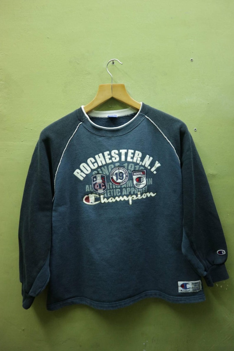 775c8fb0e4a68 Vintage Champion Sweatshirt Big Spell Out Sportswear Streetwear Swag Hip  Hop Pullover Crew Neck Sweater Blue Color Size 160