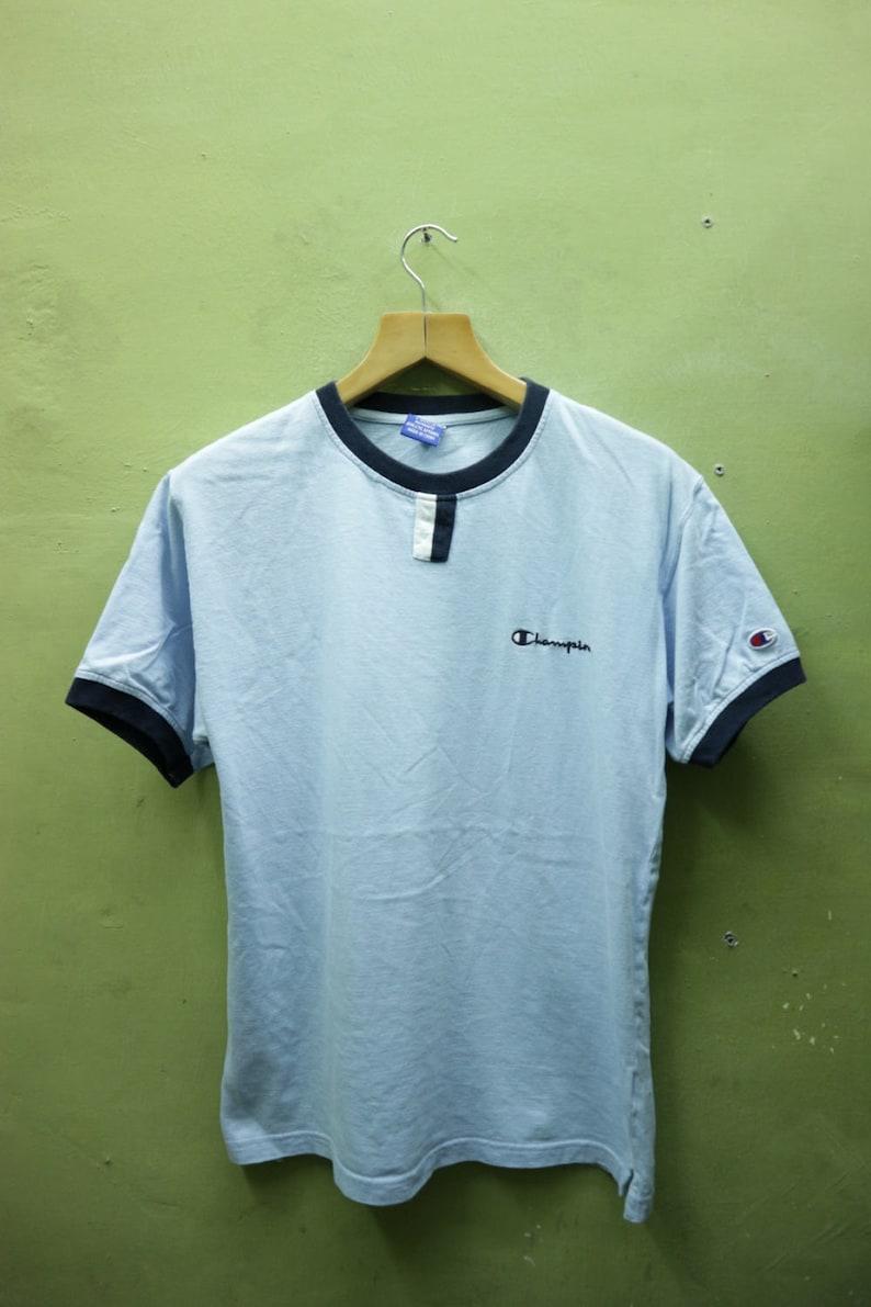 5acfcdbbdf3e5 Vintage Champion Shirt Ringer Sportswear Streetwear Swag Top Tee Blue Color  T Shirt Size L Women