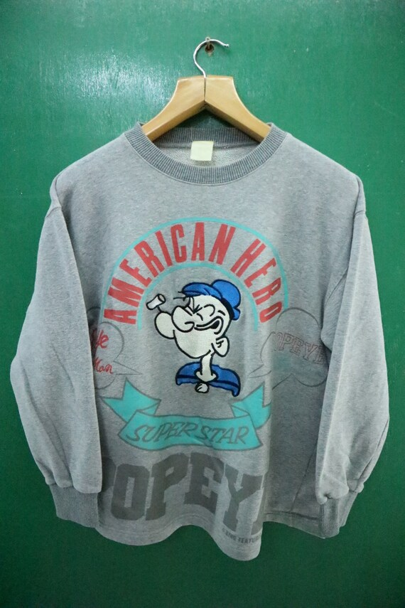 Vintage Popeye The Sailorman Sweatshirt Embroidery Logo Cartoon Pull Over Round neck Sweater Gray Color Size LL yTR1uWDbT