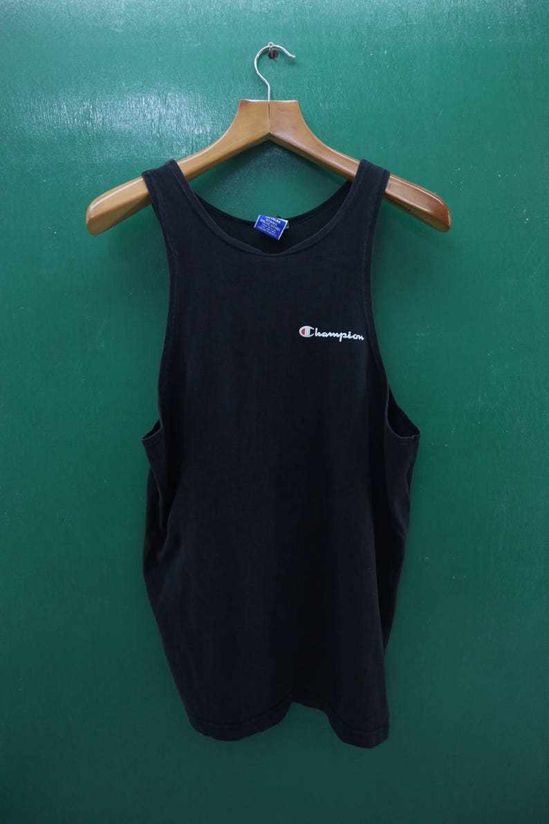 a9fd14d1cb2e1 Vintage Champion Tank Top Minimal Logo Authentic Athletic Apparel  Sportswear Streetwear Top Tee Shirt Made In USA Size M