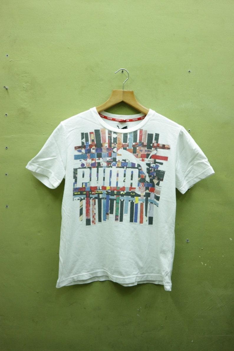 dd7adf625ef80 Vintage Puma Shirt Big Logo Sportswear Streetwear White Color T Shirt Top  Tee Size L