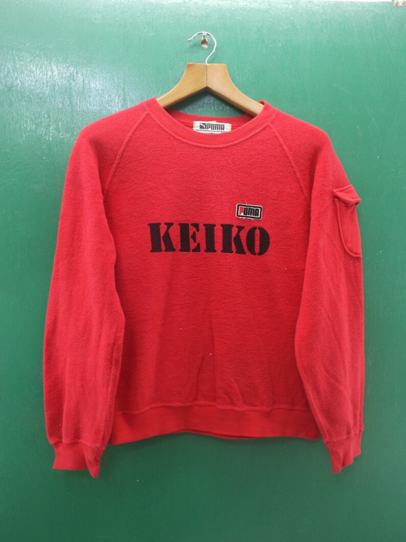 3a080fd9705a3 Vintage Puma Sweatshirt Big Spell Out Keiko Sportswear Streetwear Pullover  Crew Neck Red Color Sweater Size S