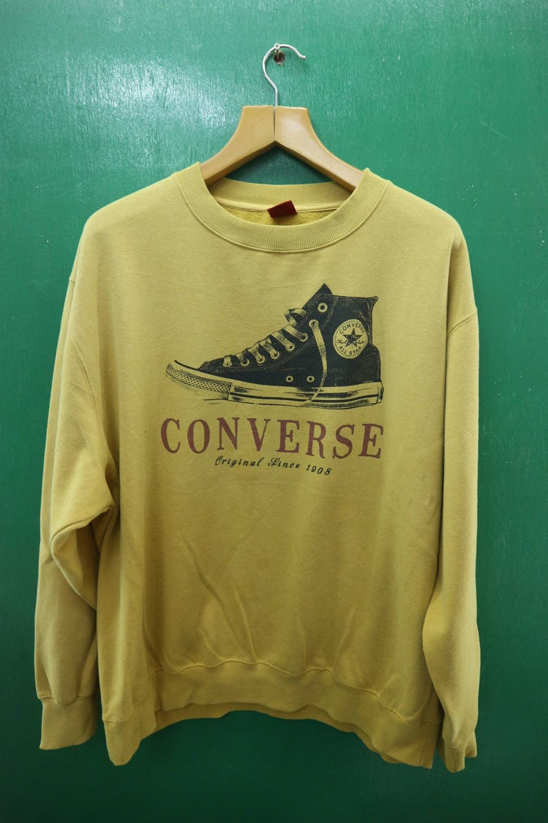 a129da7c4d694 Vintage Converse All Star Sweatshirt Big Spell Out Chuck Taylor Hip Hop  Crew Neck Pullover Skate Punk Rock Sweater Size 5L