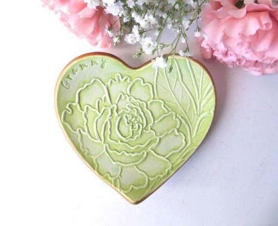 Peony Flower wedding ring dish handmade pottery IN STOCK Grammy Gift ring holder Green and Gold Heart