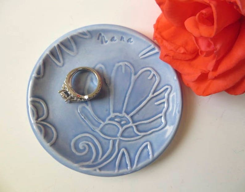 Ring dish Pastel blue dish pressed flower dish wedding ring holder Blue pottery In Stock jewelry bowl Nana Gift Flower Plate