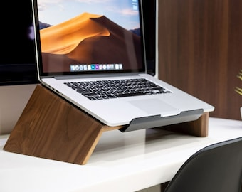 Laptop MacBook Wood Stand, Ergonomic Computer Holder, Valentine's day gift for him, woodworking gift, Home office, workspace accessories