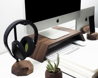 Walnut Desk Setup Wooden Collection   Tidy Desk Organization Office  Accessories From Wood Gift For Tech Nerds Geek For Him Men