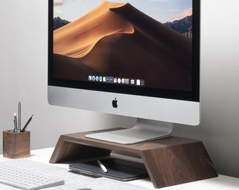 Real Wood Monitor Stand, Riser iMac Stand Computer Display Stand, Solid Wood Desk Shelf Support, Home Office, Gift for Him, Desk Accessories