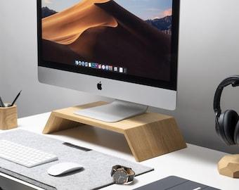 Monitor Stand, iMac Computer Screen Wood Riser, Desk Wooden Holder Shelf, Workspace Accessories, Oak Walnut Wood, Birthday Gift for Husband