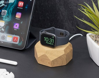 Apple Watch Docking Station by Oakywood, Wooden iWatch Charging Dock Station, Apple Charging Dock, Watch Nightstand, Apple Watch Accessories