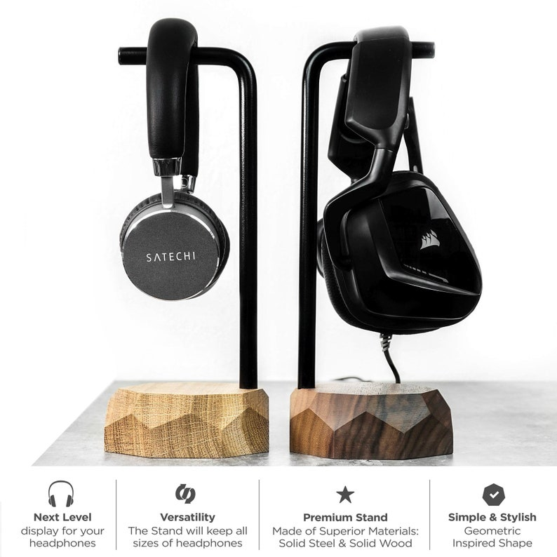 gift for him gift for geek Headphone Holder Unique Gifts for Men Wood Headphone Hanger Wooden headset stand storage,headphones Stand