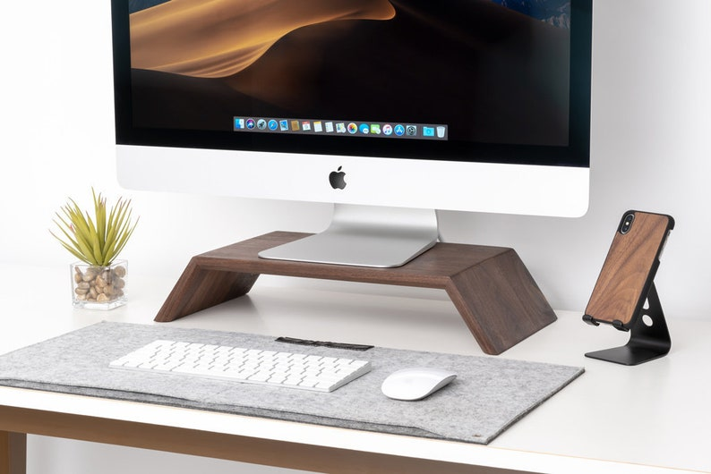 Real wood monitor stand iMac stand computer display stand image 0
