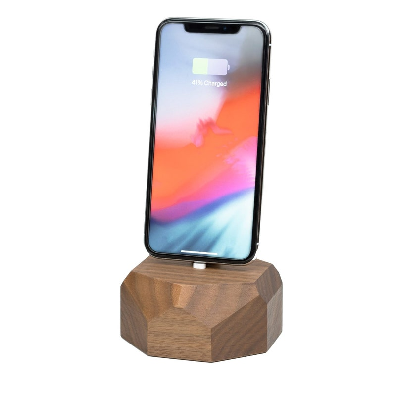 new style d834a 6e4c3 iPhone charging dock, iPhone X wooden stand, docking station, iphone  chargers, wood designer gift for him, xmas gift for him