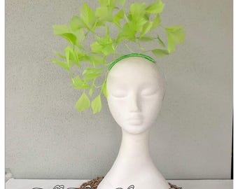 Lime green feather headband fascinator *FREE EXPRESS POST*
