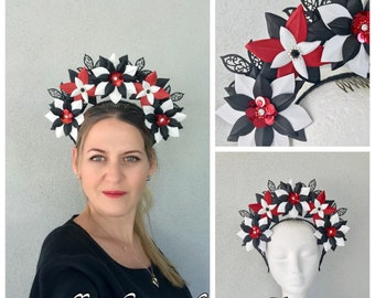 Black, white & red leather headband fascinator *FREE EXPRESS POST*
