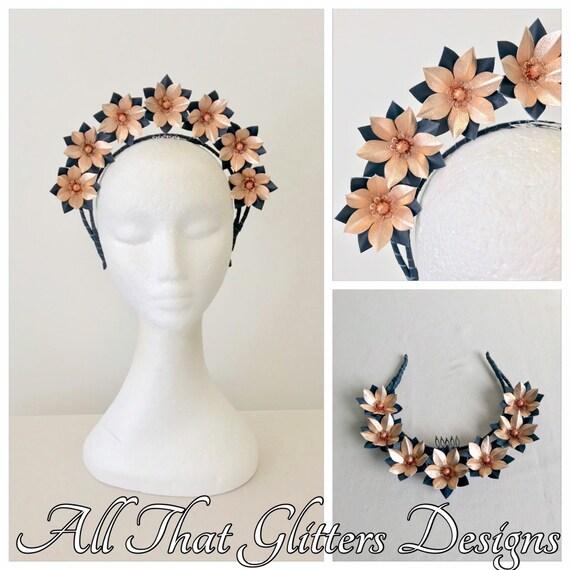 Navy   rose gold leather headband fascinator FREE EXPRESS  4ebdbd91739