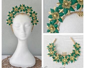 Green & gold leather headband fascinator ***FREE EXPRESS POST***