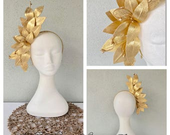 Gold leather crown headband fascinator *FREE EXPRESS POST*