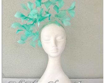 Aqua green feather headband fascinator *FREE EXPRESS POST*